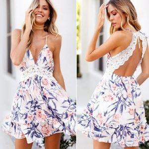 White Floral Lace Boho Dress